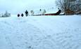 Снежная горка прямо во дворе