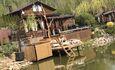 Домики  для двоих с бассейном и баней, Дом до 10 человек, квадроциклы, рыбалка , Беседка у пруда с лажу-зонай
