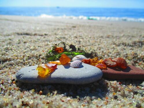 Янтарь на пляже