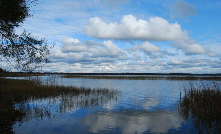Озеро Шо. Глубина едва достигает 3м.