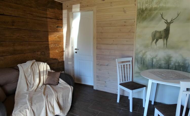 Агроусадьба «Оленья», В первой спальне - двухспальный диван-кровать (сп.м. 120*190 см), выход на улицу