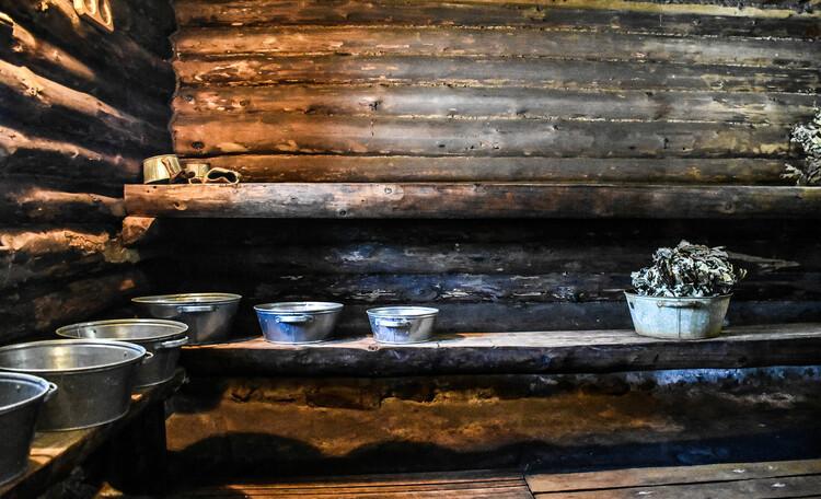 Голубые озера усадьба Трабутишки, Баня интерьер. Парилка.