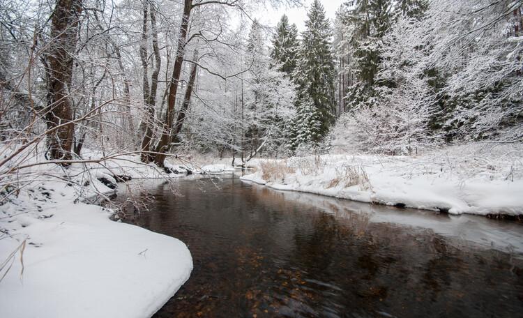 Голубые озера Беларусь | Нарочь, Река Лынтупка зимою