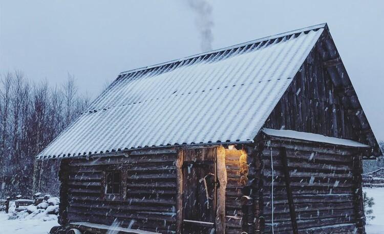 Голубые озера усадьба Трабутишки, Баня, зима.