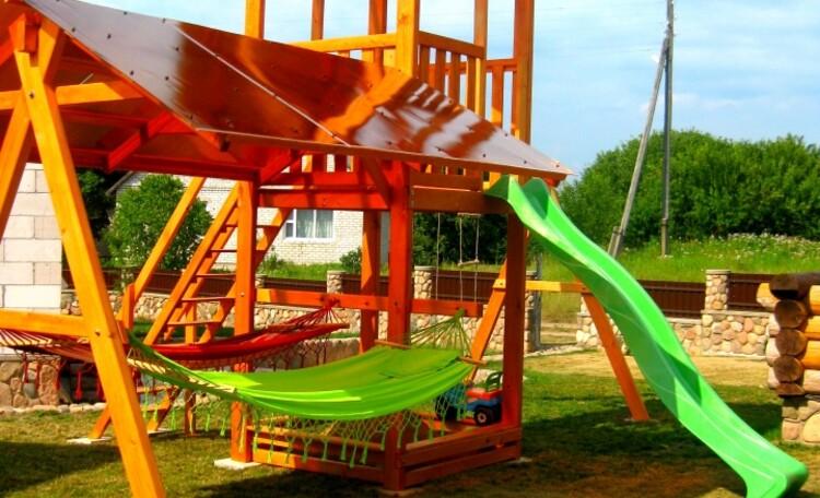 """Агроусадьба """"Белорусский Байкал"""", Детская игровая площадка с гамаками ."""