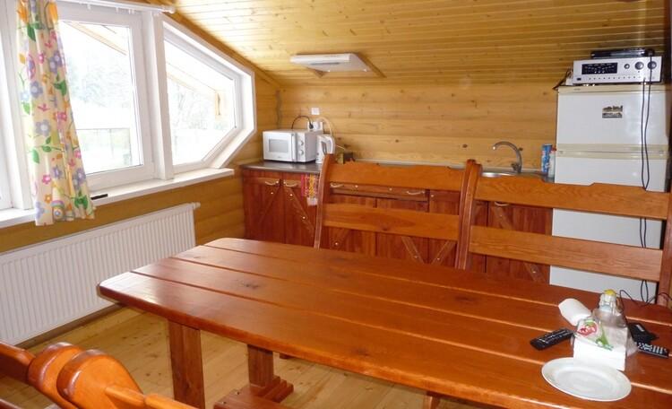 Кухня-гостиная с караоке и видом на реку в гостевом домике