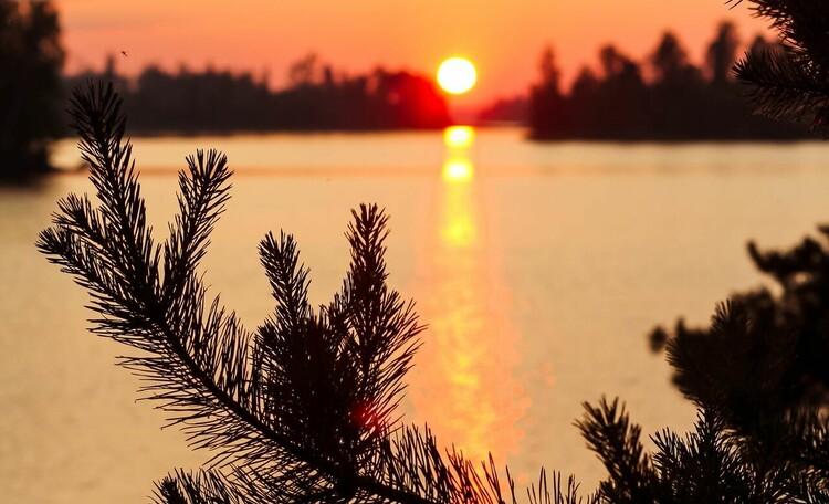 """Усадьба """"Солнечный домик""""  в Беловежской пуще, Закат на озере. Окрестности нашей усадьбы"""
