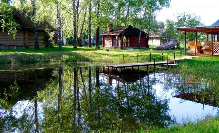 Агроусадьба «Заезд Зубачи», Пруд, беседка с барбекю, баня